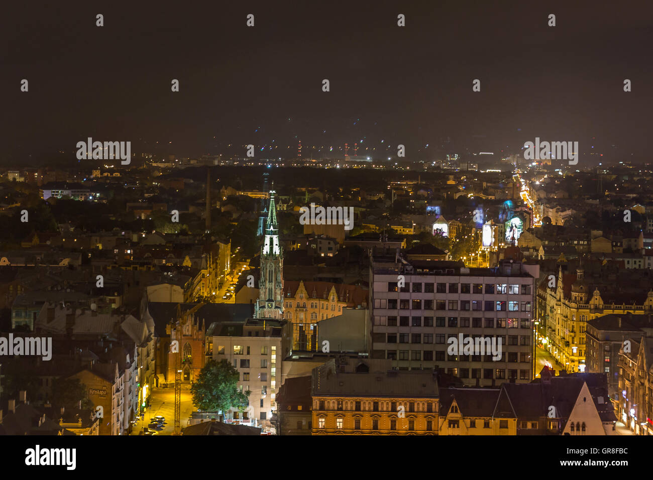 Fascinating View On The Night Scenery Of Riva Of The Capital Of Latvia - Stock Image