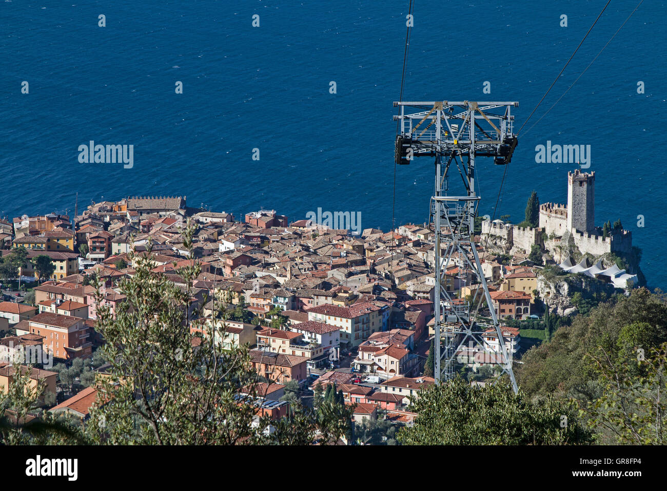 Malcesine Popular And Much-Visited Destination On The Eastern Shore Of Lake Garda - Stock Image