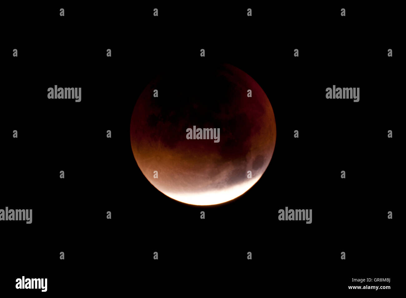 Total Lunar Eclipse On Sept. 28, 2015, Observed In Kiel, Germany, Through A Telescope - Stock Image