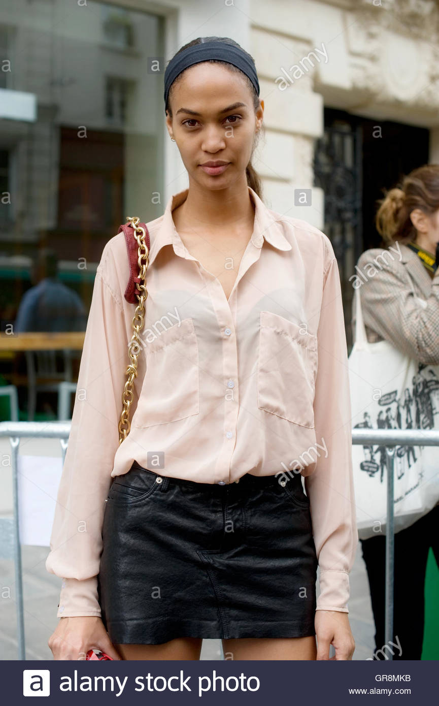 Joan Smalls after Jean Paul Gaultier Haute Couture Fashion Show, held on the Rue Saint Martin. - Stock Image