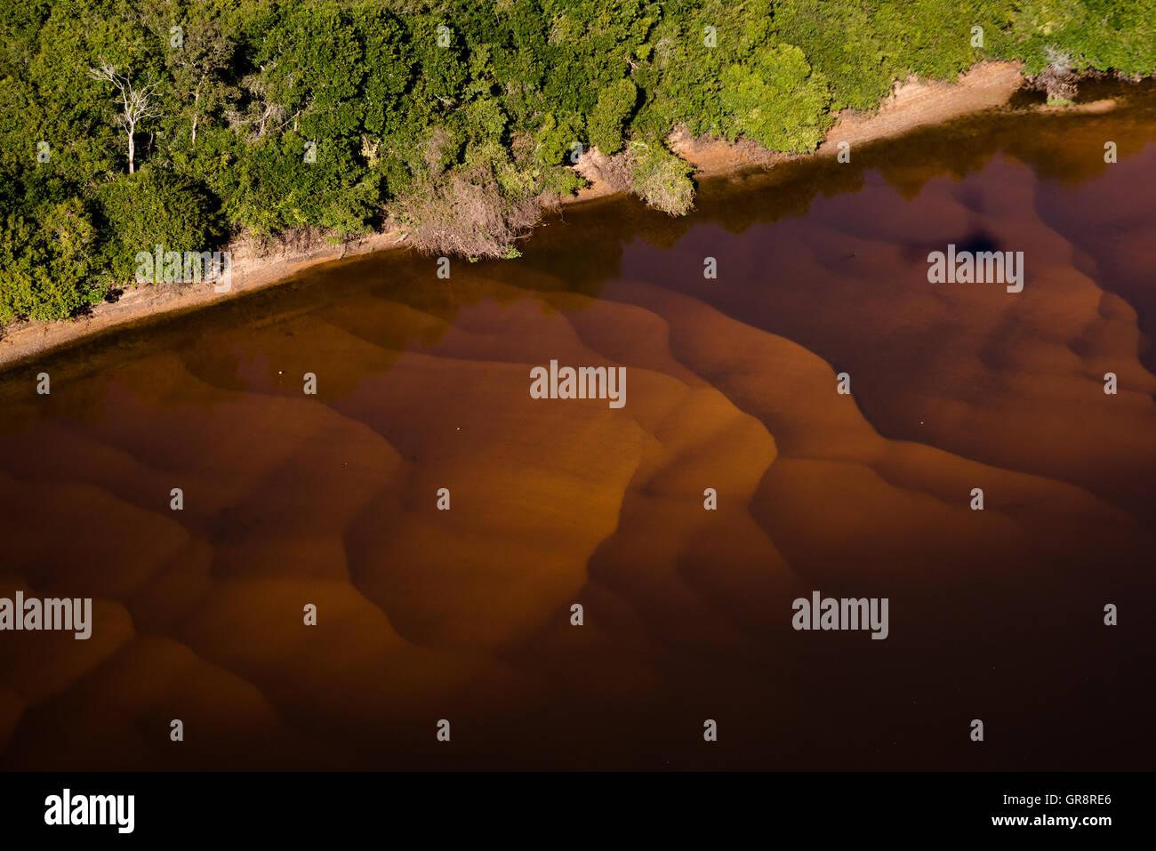 Sandbars on the Rio Negro in South Pantanal during the dry season - Stock Image
