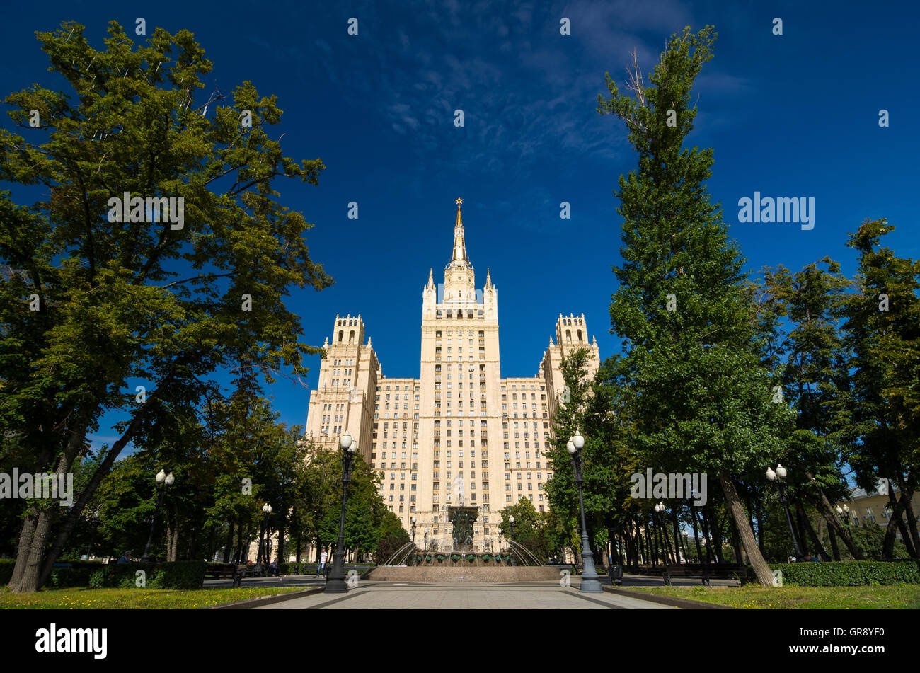 High-rise Kudrinskaya Square Building is one of Seven Sisters. Stock Photo