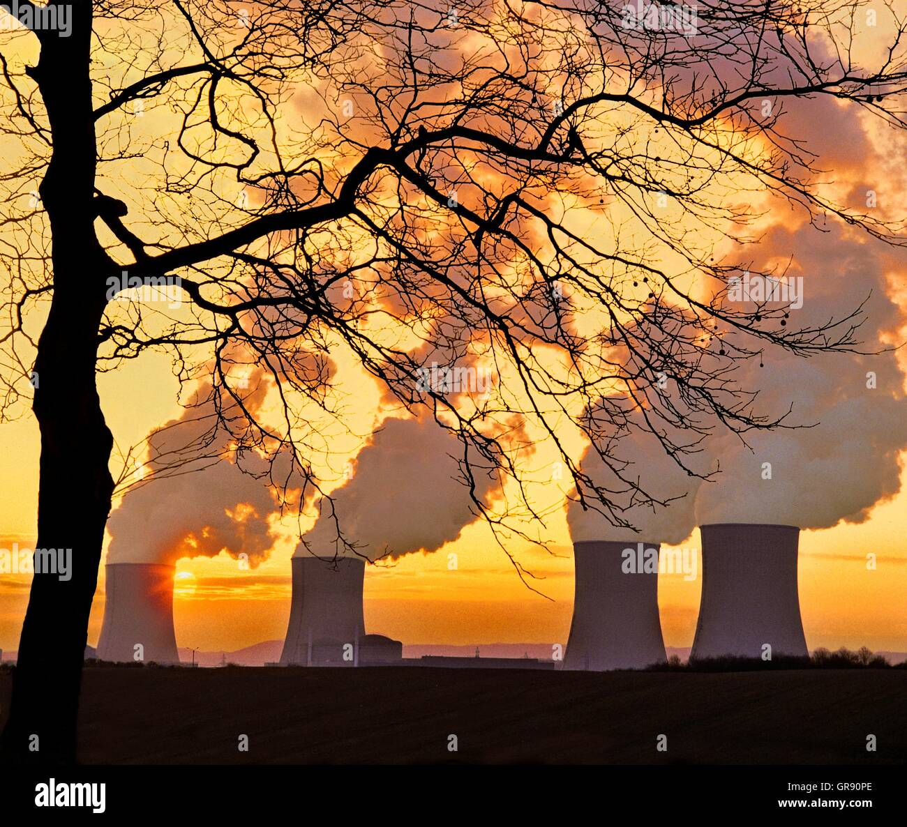 Nuclear Power Station Cattenom, Lorraine, France, In The Evening Light - Stock Image