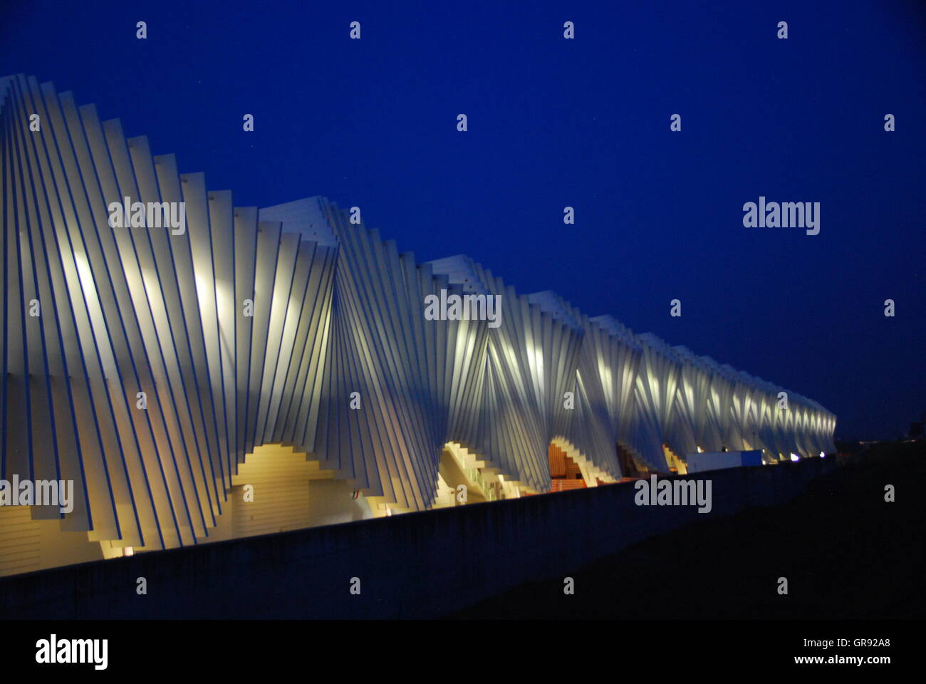 Illuminated Architectural Feature Against Sky At Night - Stock Image