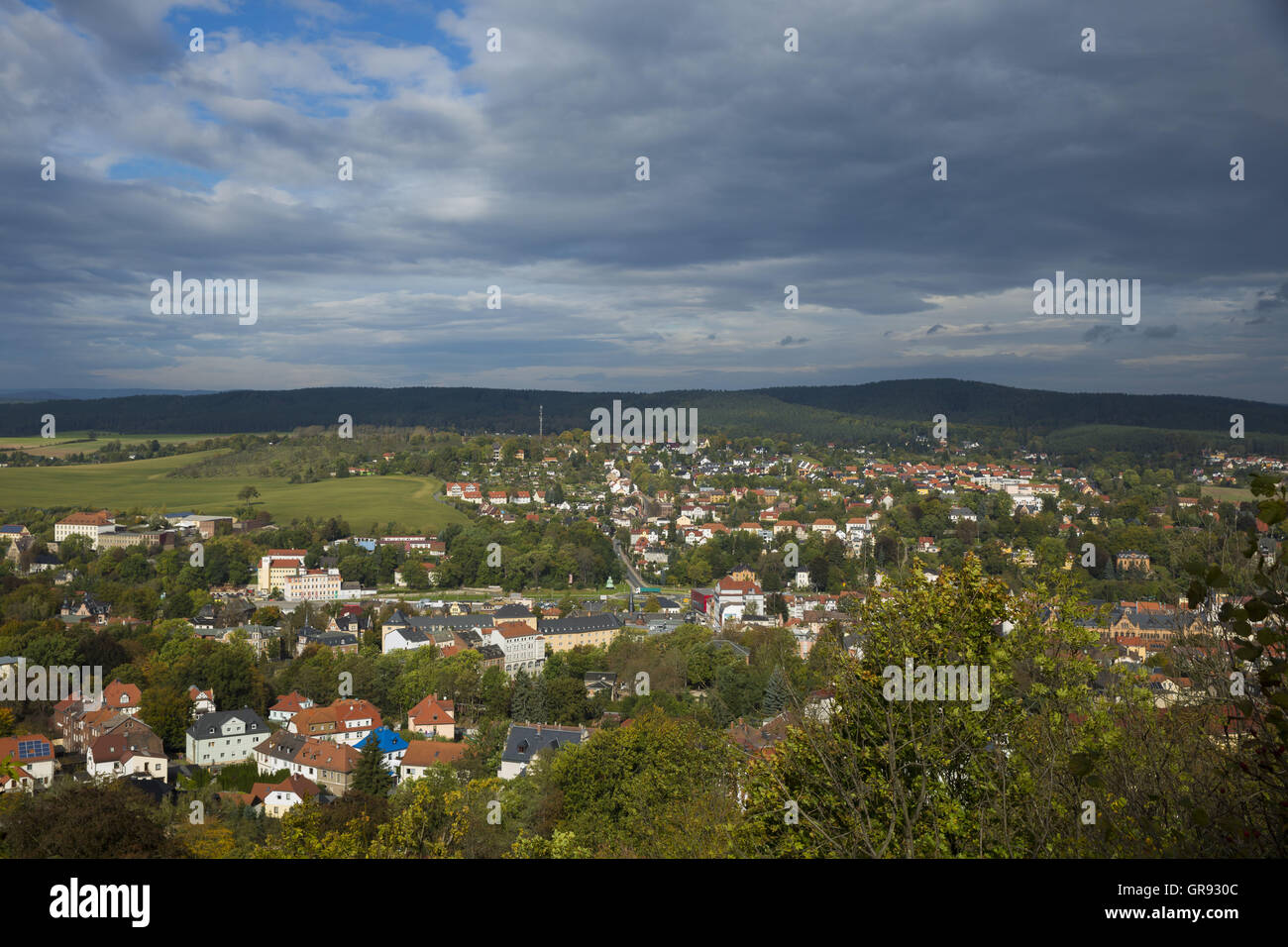 Partial View Of Pößneck With An Overcast Sky, Thuringia, Germany, Europe - Stock Image