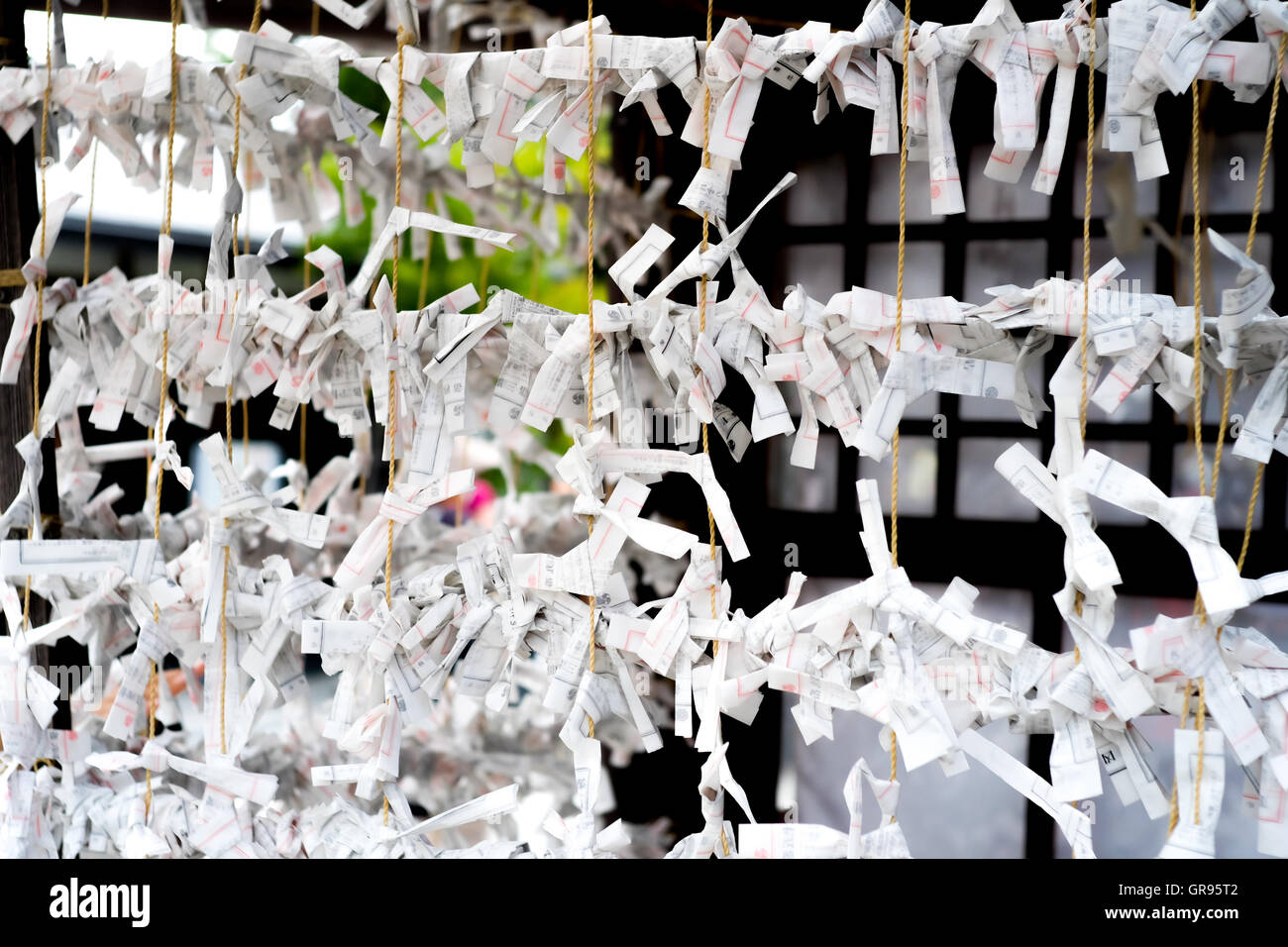 Fortune Telling Papers Tied On Ropes - Stock Image
