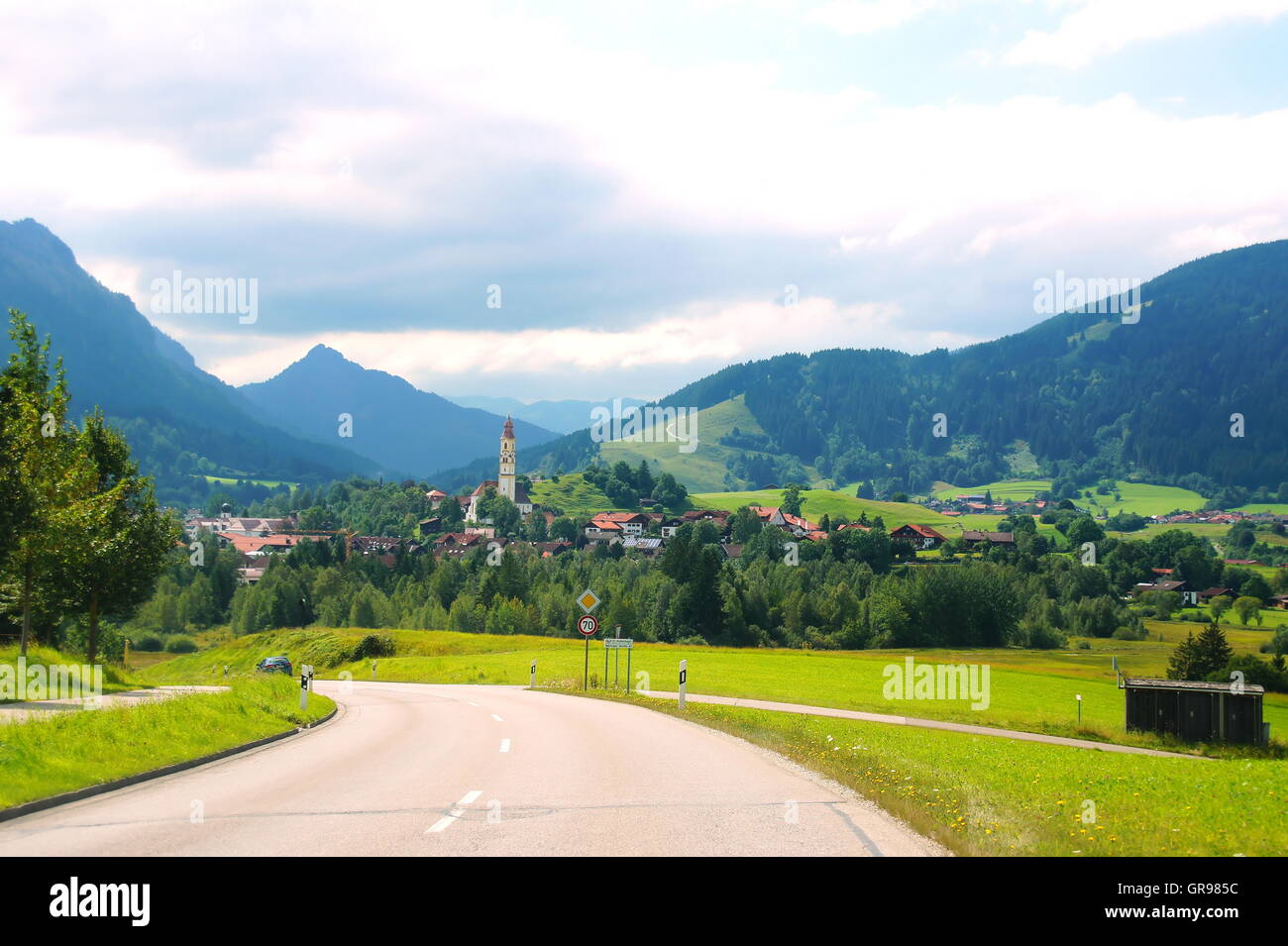 Street In The Allgaeu Southbound To Pfronten - Stock Image