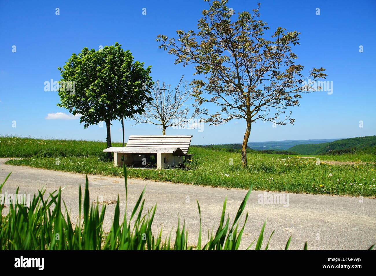 Resting Place In The Fields Near Irmenach In The Hunsrück - Stock Image