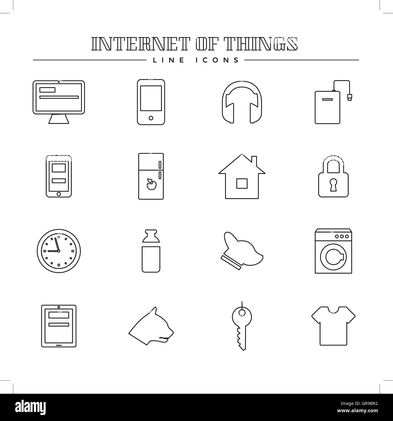 Internet of things and smart home, line icons set - Stock Image