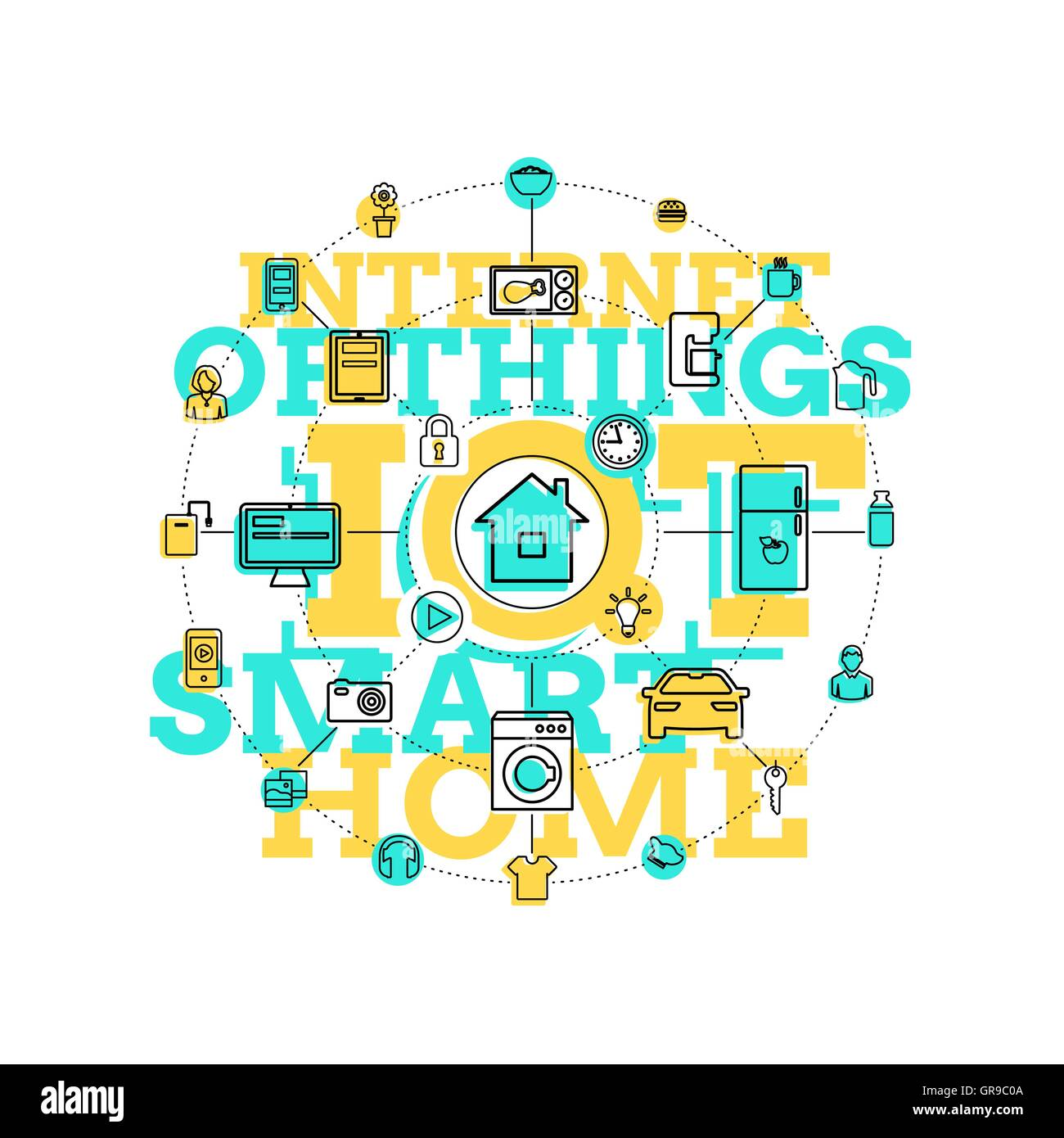 Smart Home And Internet Of Things Line Art - Stock Image