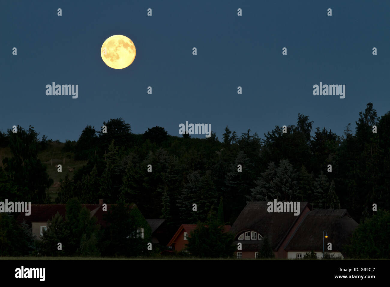 Full Moon Is Up - Stock Image