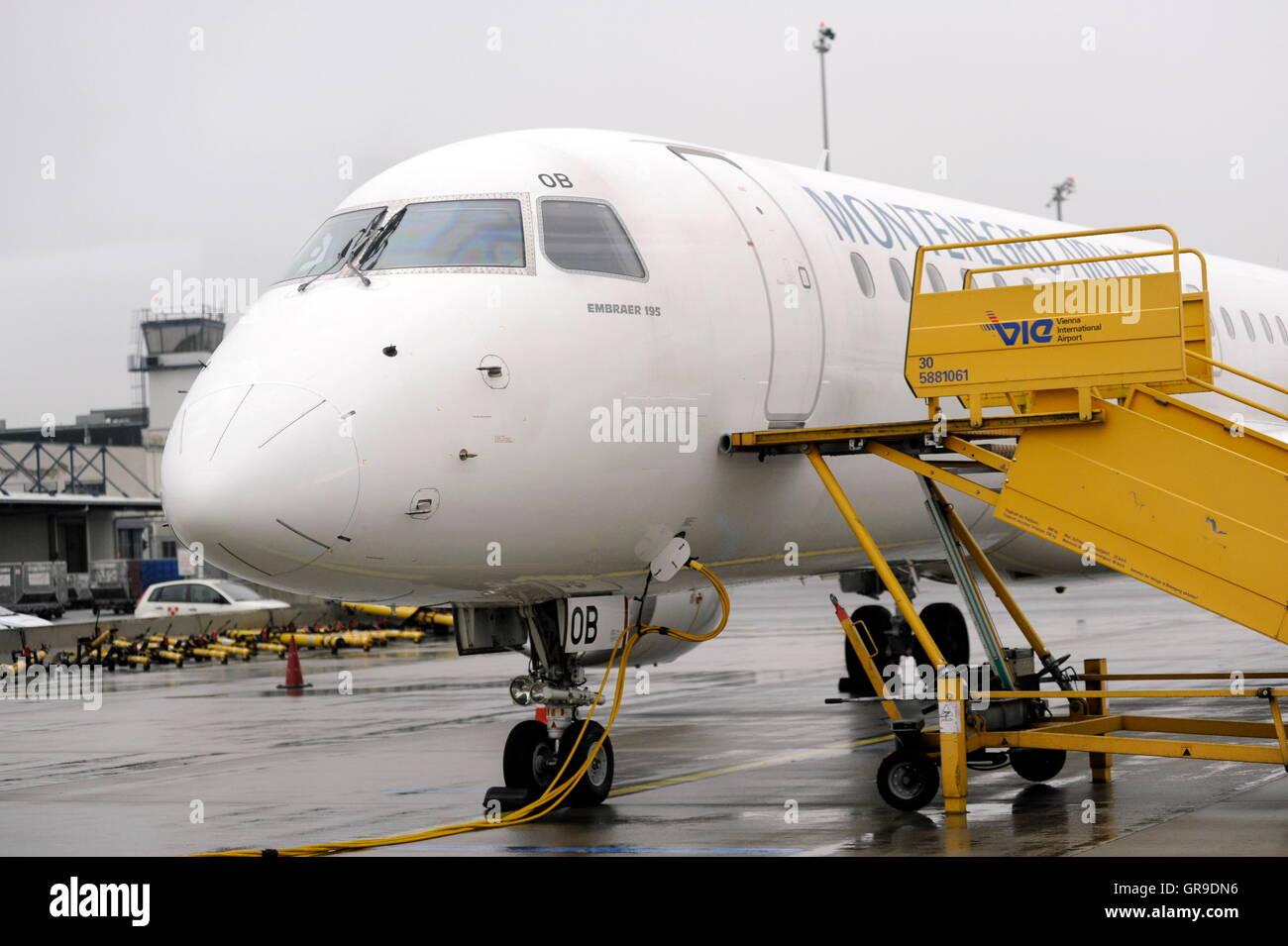 Montenegro Airlines At The Vienna International Airport Stock Photo