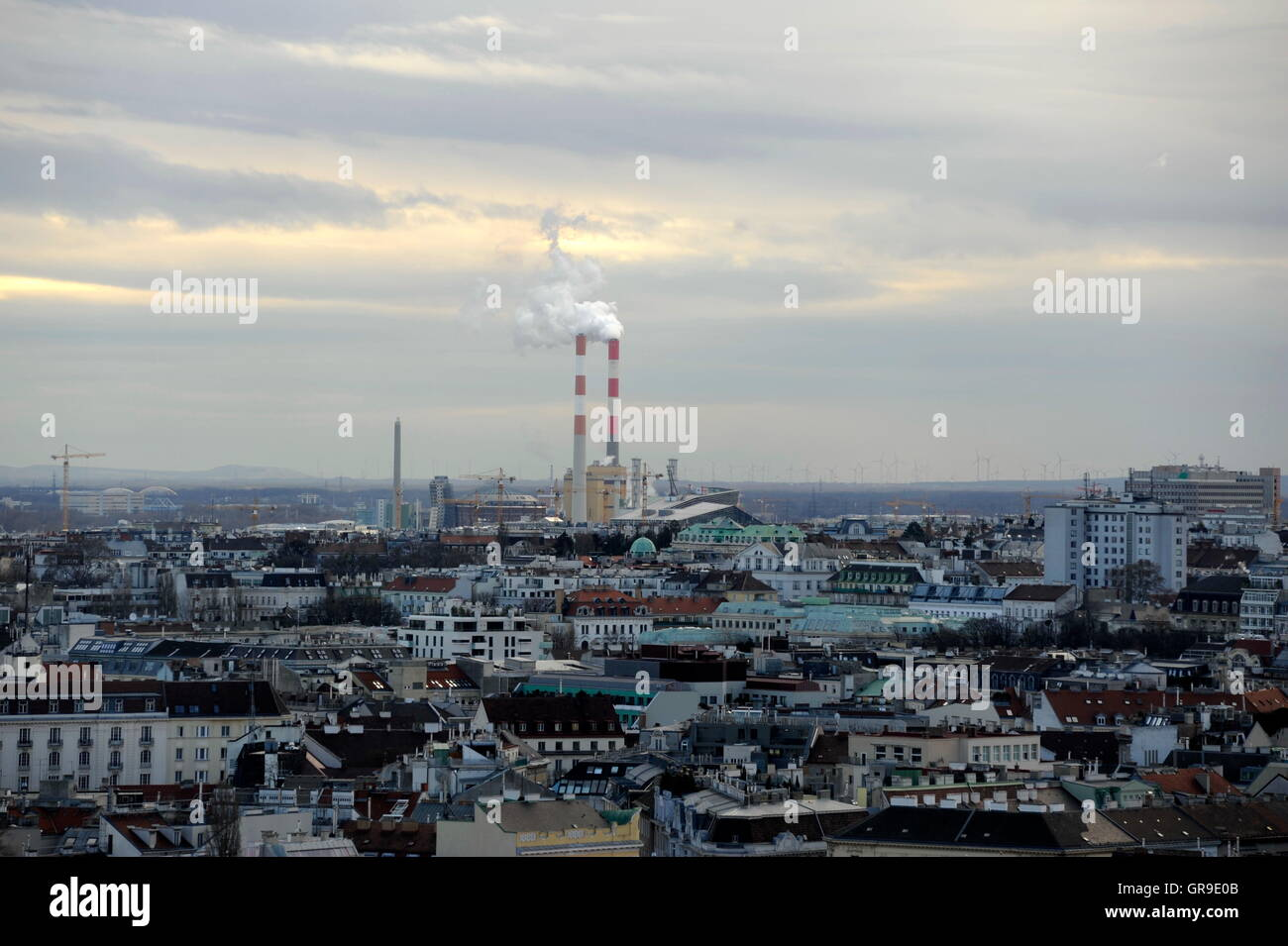 View Of Vienna With The Incinerator Simmering, Austria - Stock Image