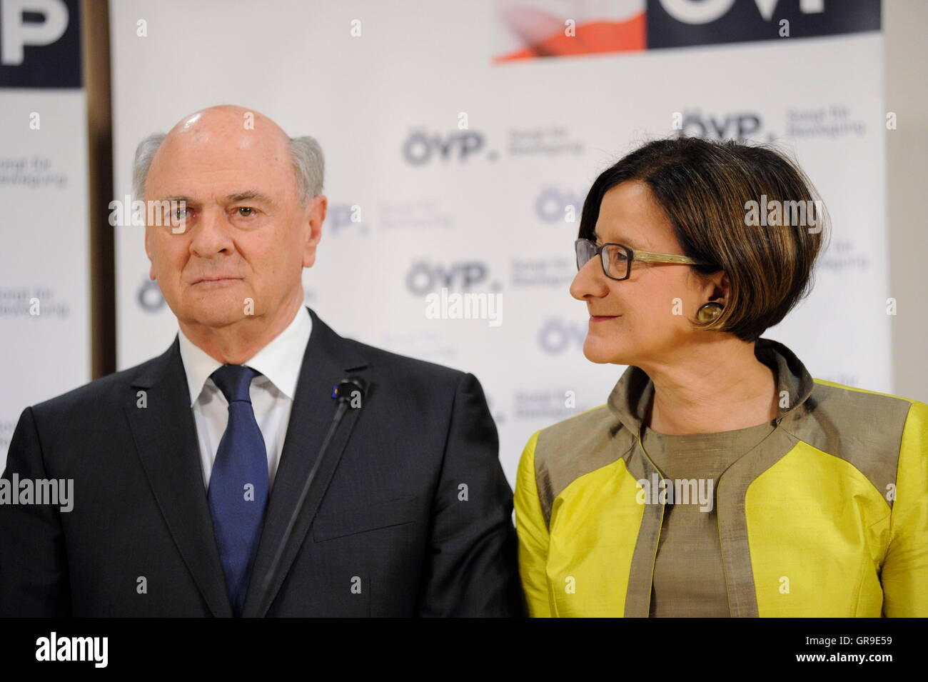 The Lower Austria Governor Erwin Pröll And Ex-Interior Minister Johanna Mikl-Leitner - Stock Image