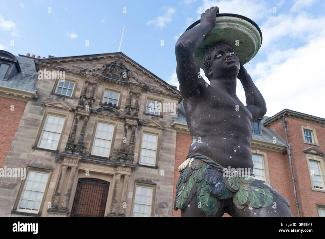 Statue of African Moor outside of Dunham Massey Hall an English country house / stately home in  Trafford, Altrincham, - Stock Image
