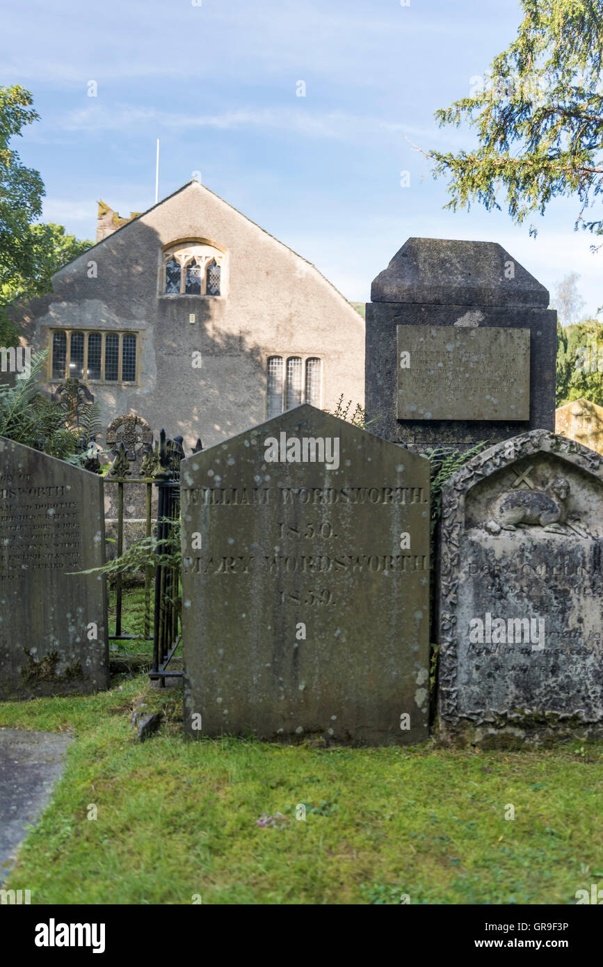 William Wordsworth's Grave at St. Oswald's Church Grasmere, Lake District, Cumbria, UK - Stock Image