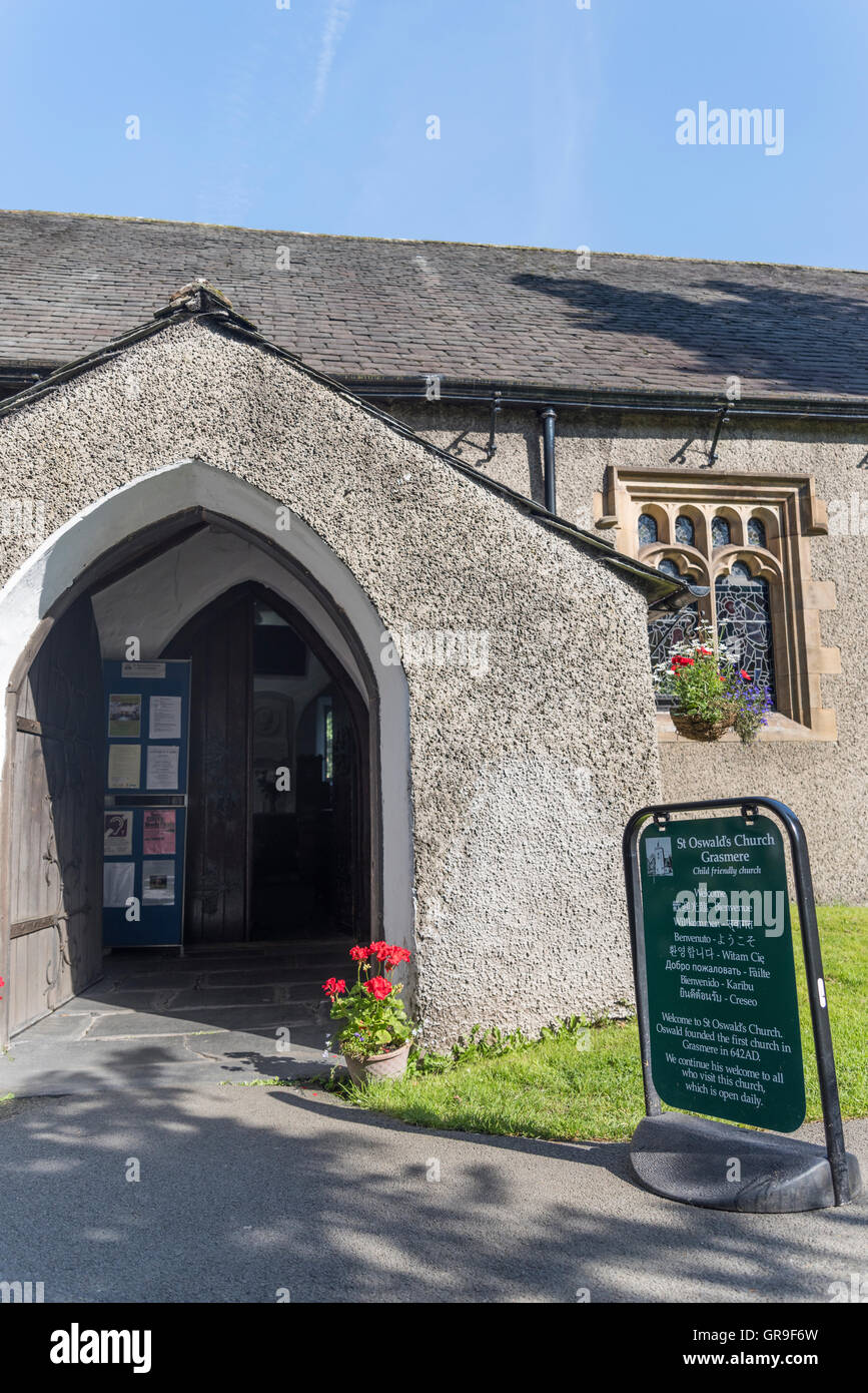St. Oswald's Church Grasmere, Lake District, Cumbria, UK - Stock Image