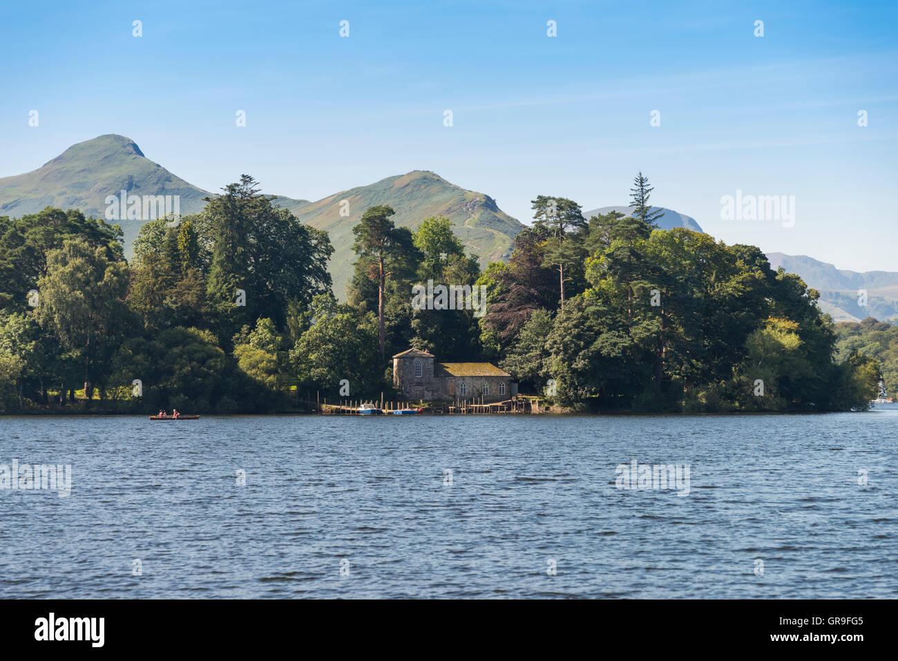 Derwent Isle, Derwent Water Lake, The Lake District, Cumbria, UK - Stock Image