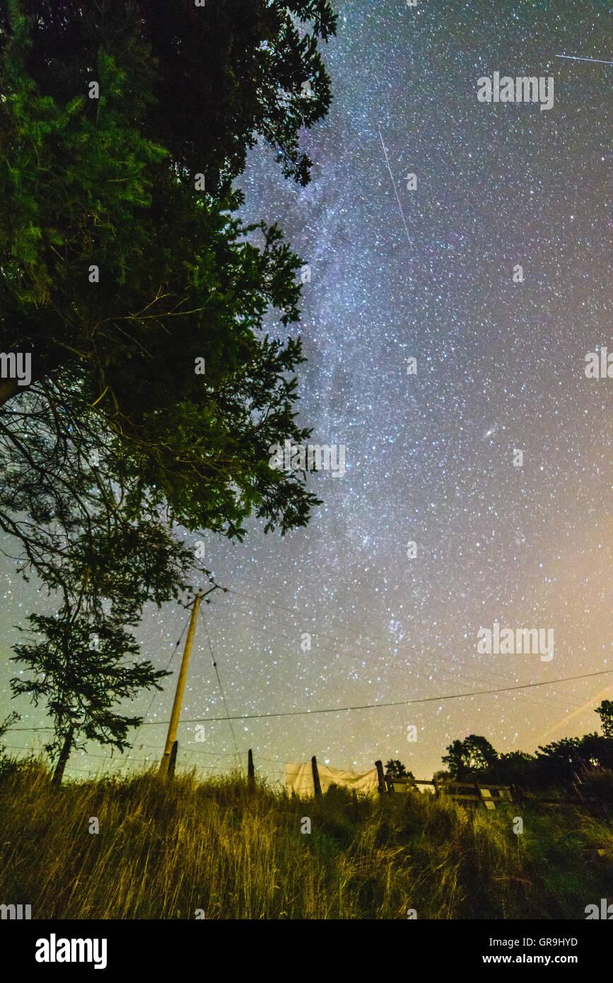 Milky Way in Wales UK Britain, Andromeda visible Stock Photo