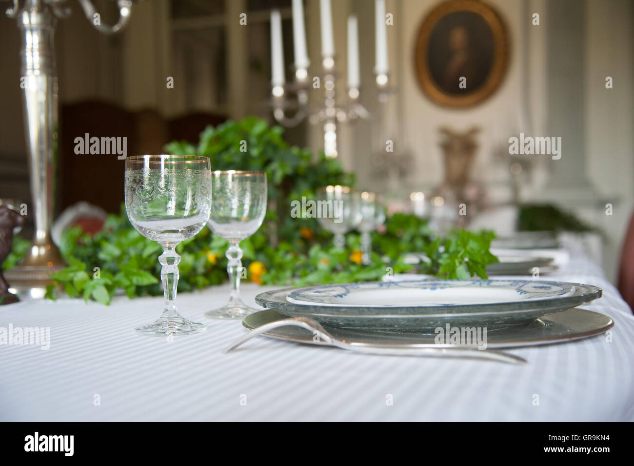 Historically Laid Table In A Dining Room - Stock Image