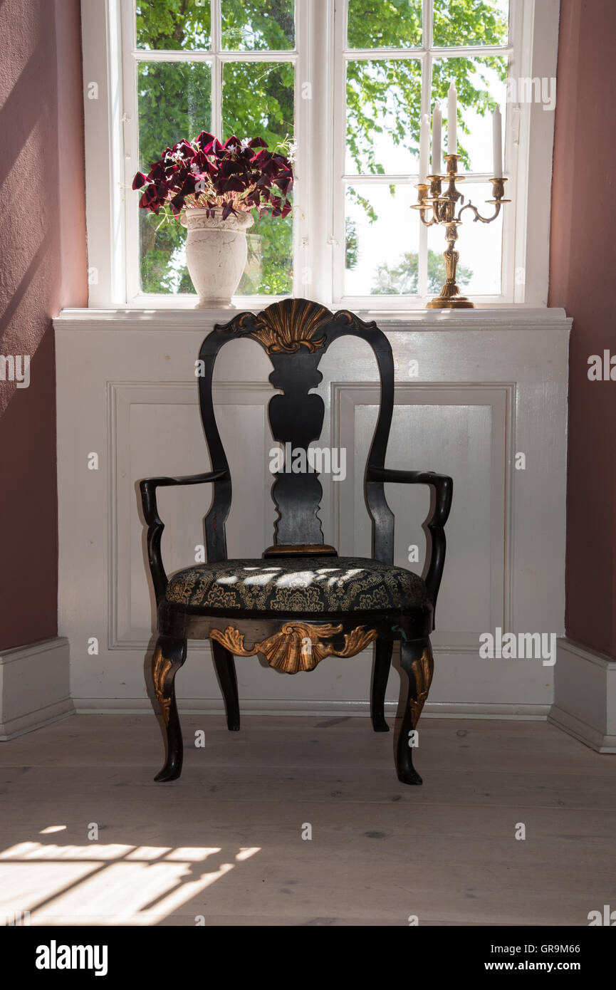 Classy Interior With A Baroque Chair - Stock Image