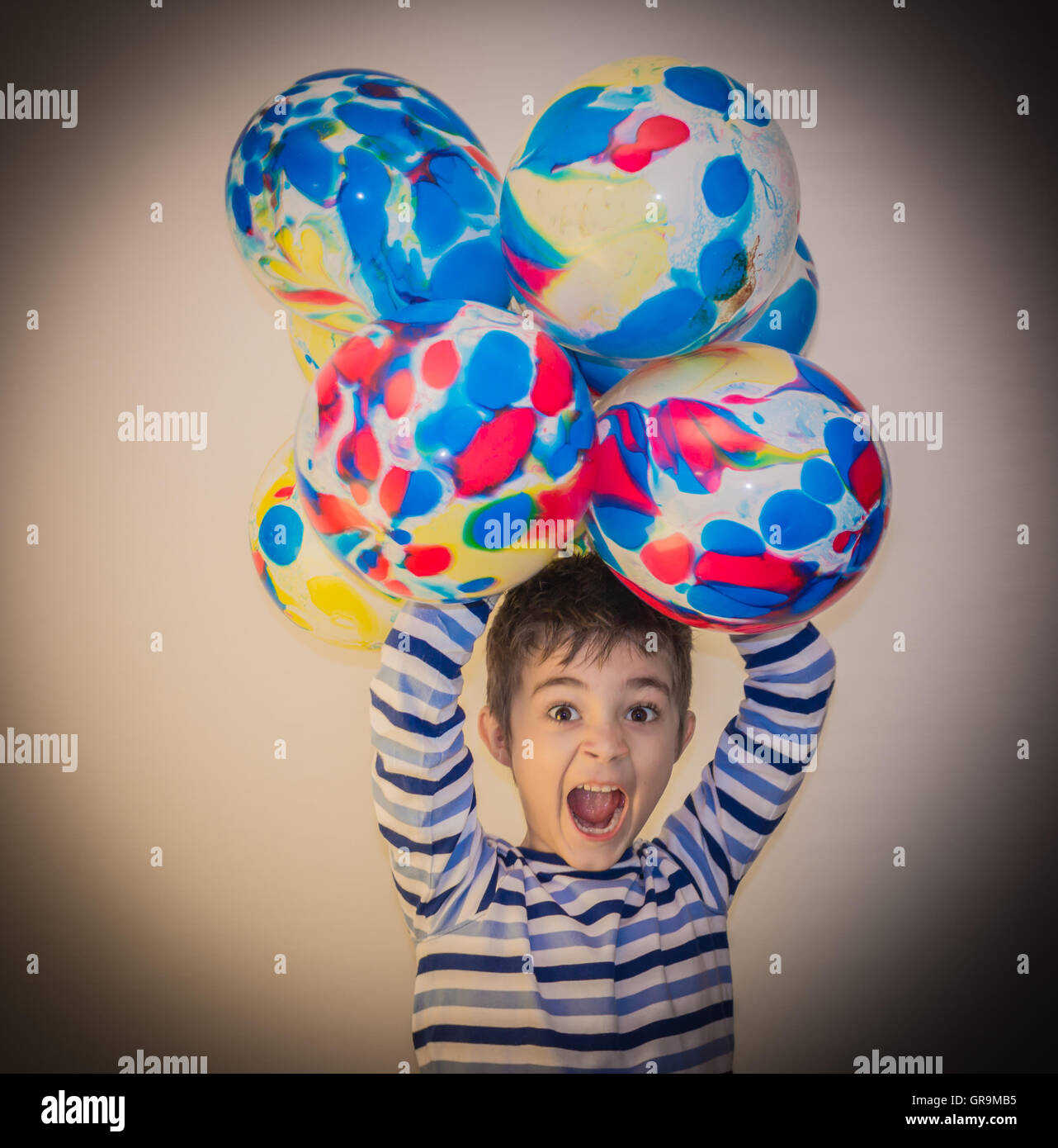 Furious Child Roars And Has Fun Doing - Stock Image
