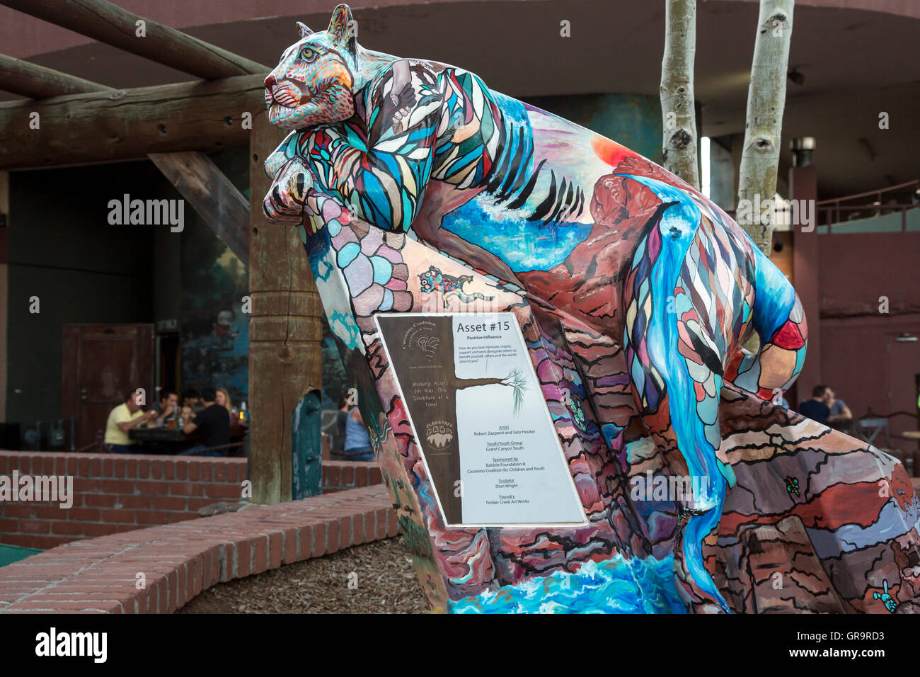 Flagstaff Arizona - A painted sculpture of a mountain lion on display in Heritage Square. & Flagstaff Arizona - A painted sculpture of a mountain lion on Stock ...