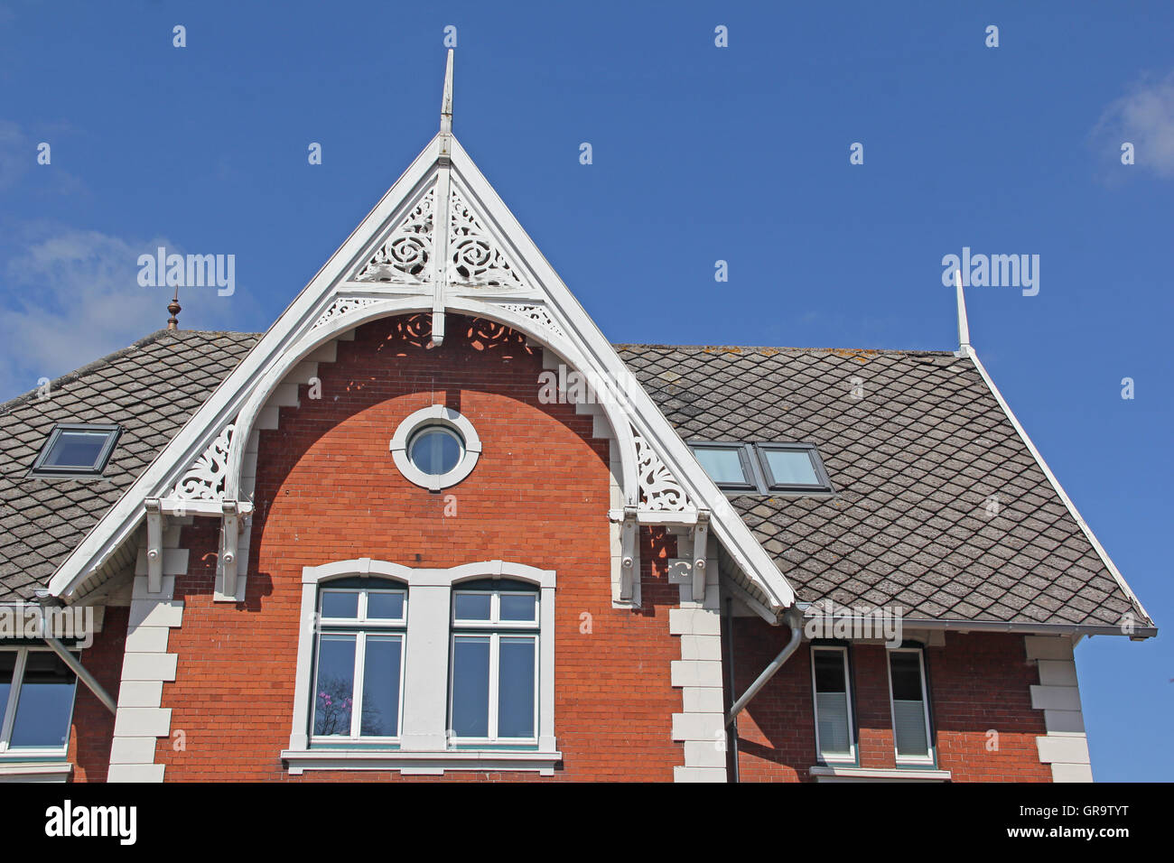 Roof Gable In Northern Germany - Stock Image