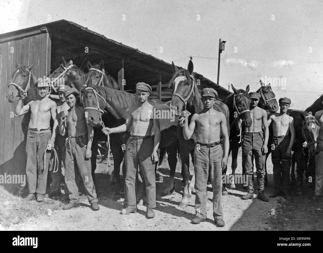 1934 German Soldiers With Horses - Stock Image