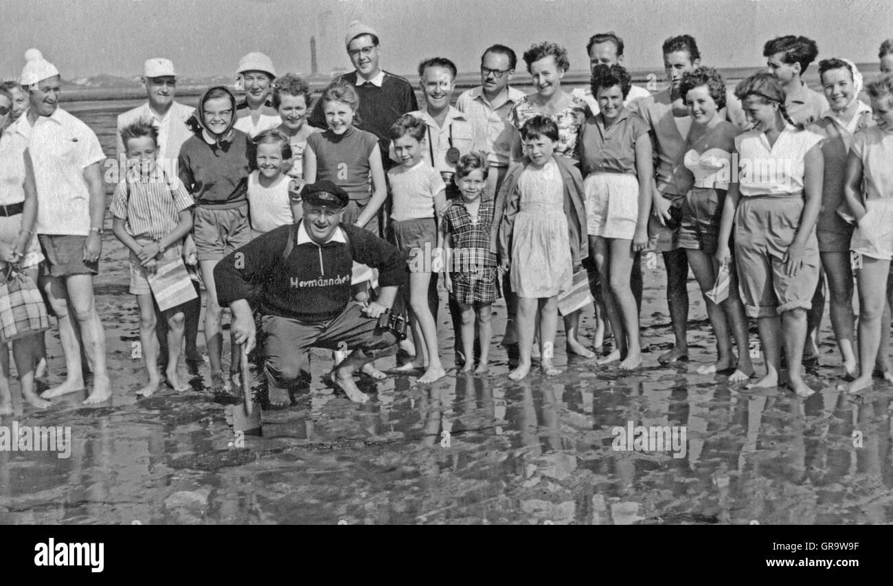 Watt-Hike In 1958 On Norderney - Stock Image