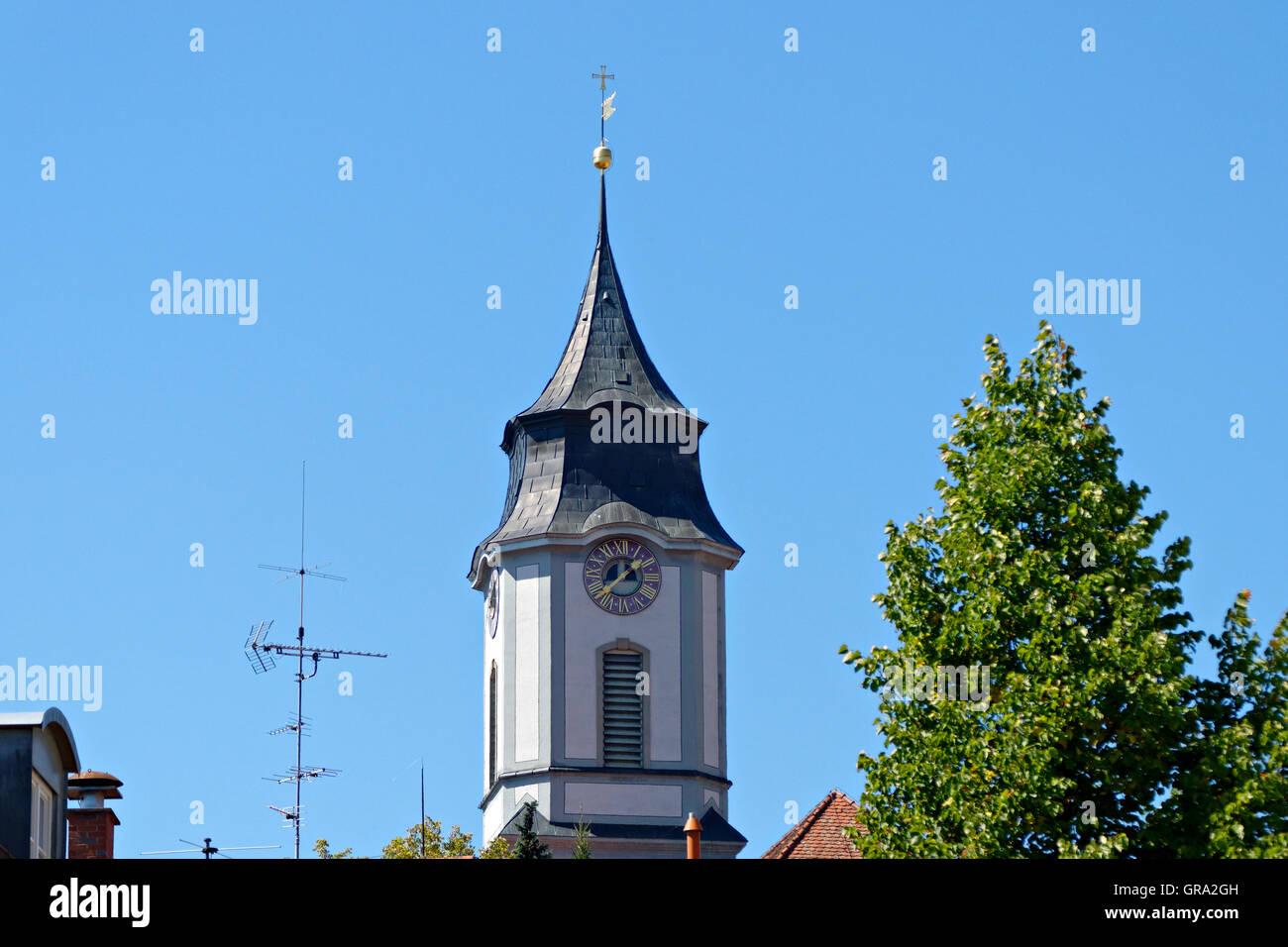 Notre-Dame Cathedral clock bell tower,  Protestant church of St. Stephen on the island of  Lindau, Swabia, Bavaria, Stock Photo