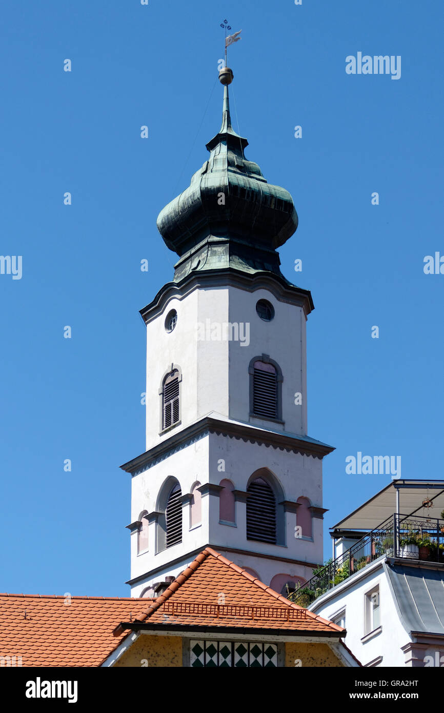 Notre-Dame Cathedral  bell tower,  Protestant church of St. Stephen on the island of  Lindau, Swabia, Bavaria, Germany, Stock Photo