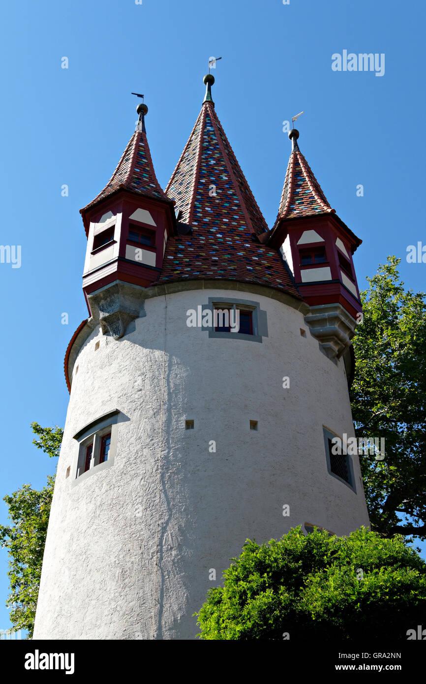 Diebsturm tower, Lindau on Lake Constance, Lindau, Swabia, Bavaria, Germany, Europe Stock Photo