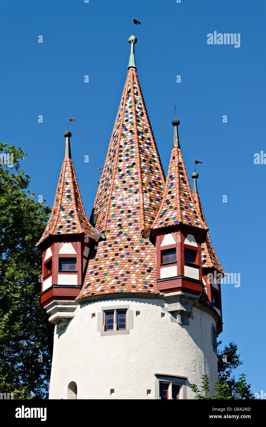 Diebsturm tower, Lindau on Lake Constance, Lindau, Swabia, Bavaria, Germany, Europe Stock Photo