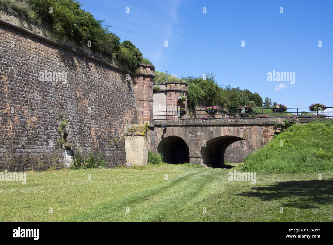 Porte De Bale, Fortifications Of Vauban, Unesco World Heritage Site, Neuf-Brisach, Alsace, France, Europe - Stock Image