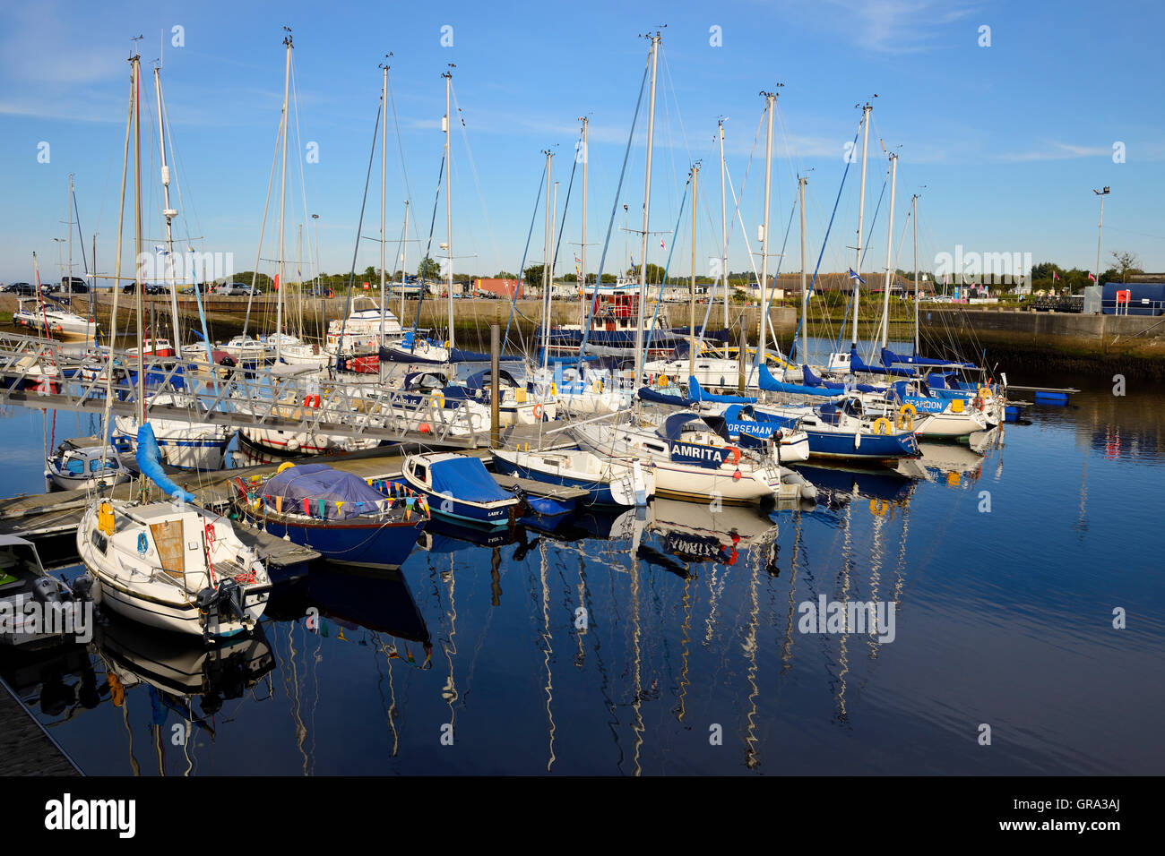 Yachts in Nairn harbour, Inverness-shire, Highland, Scotland - Stock Image