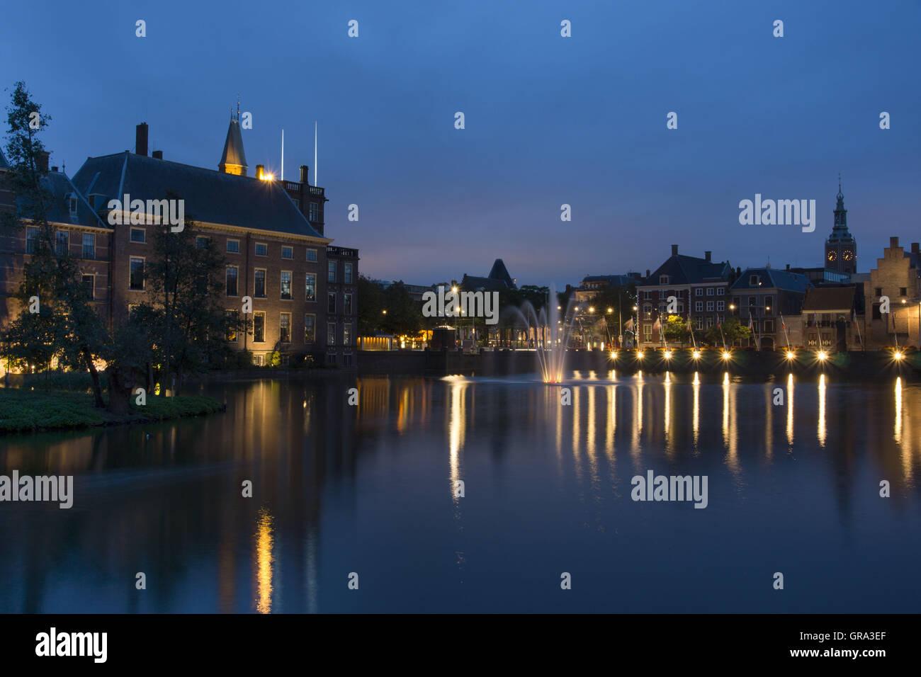 Binnenhof Inner Court Gothic Castle At Night The Hague Netherlands Europe