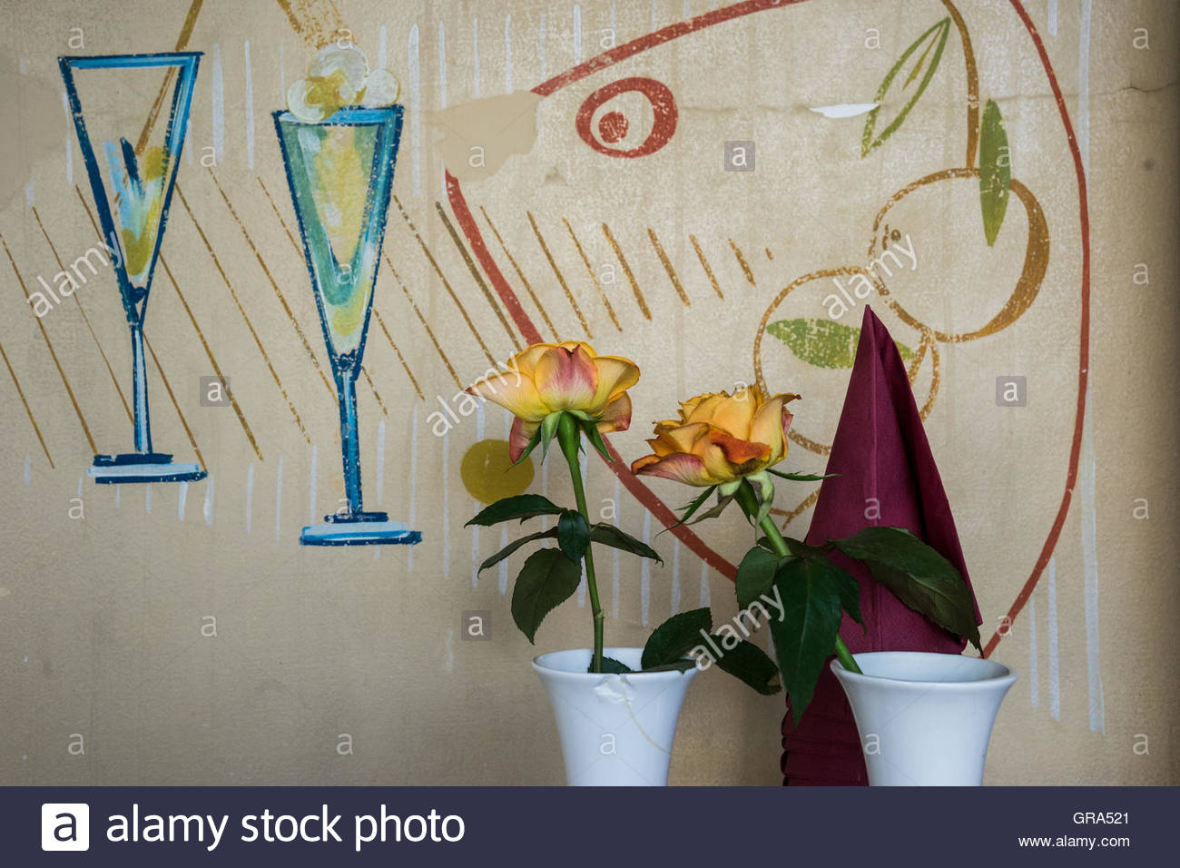 Karl-Marx-Allee, Berlin, Cafe Sybill - Stock Image