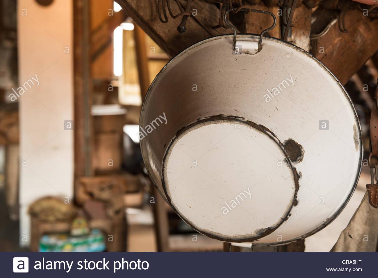 Enamel Pot On An Attic Stock Photo