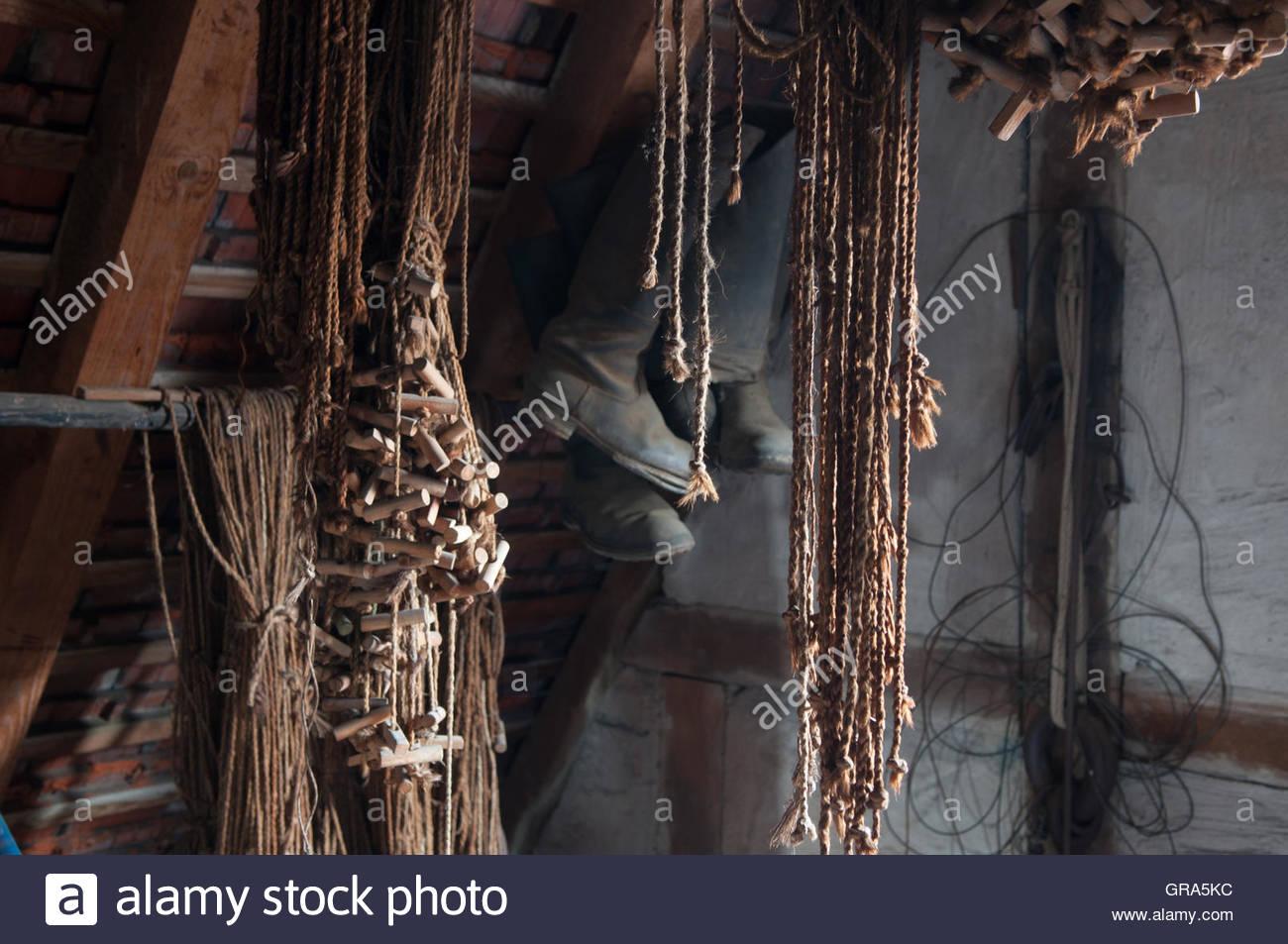 Hemp Ropes On An Attic Stock Photo