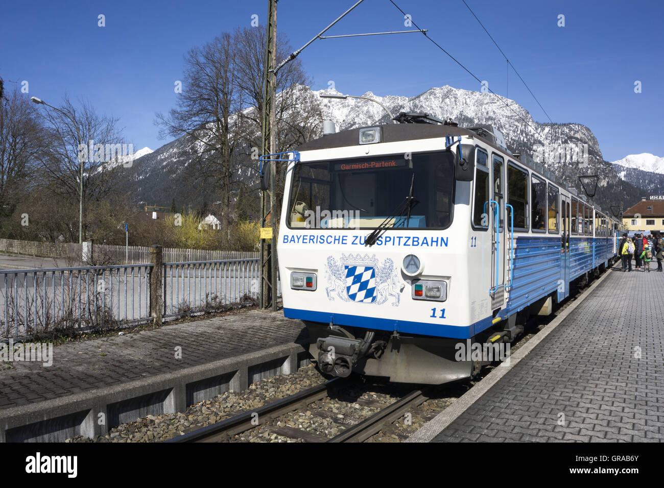 Bayerische Zugspitzbahn Railway, Grainau, Werdenfelser Land, Upper Bavaria, Bavaria, Germany, Europe - Stock Image