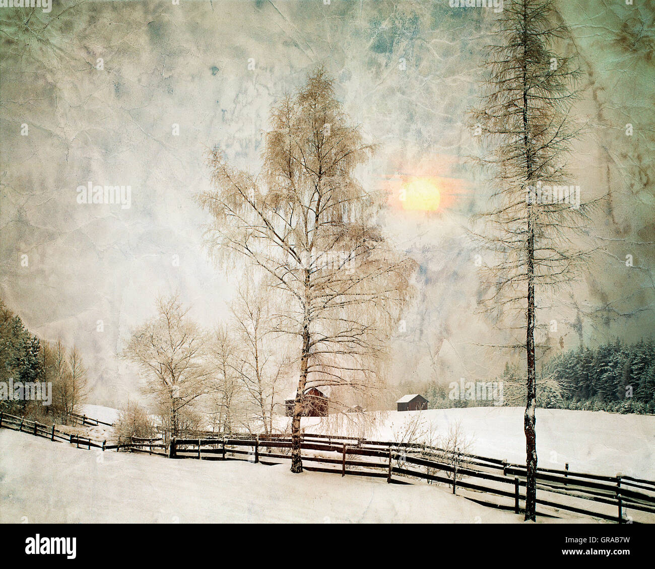 DIGITAL ART: Winterscene near Obernberg, Tyrol, Austria Stock Photo