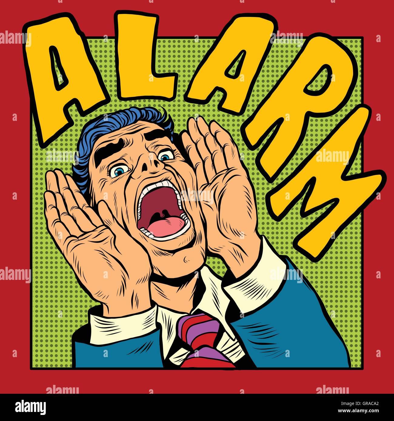 Alarm screams pop art man - Stock Vector