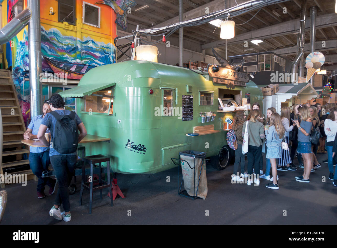 Silver Streak Coffee Club coffee stall in he new eatery and first real street food market Papirøen, Paper Island. - Stock Image