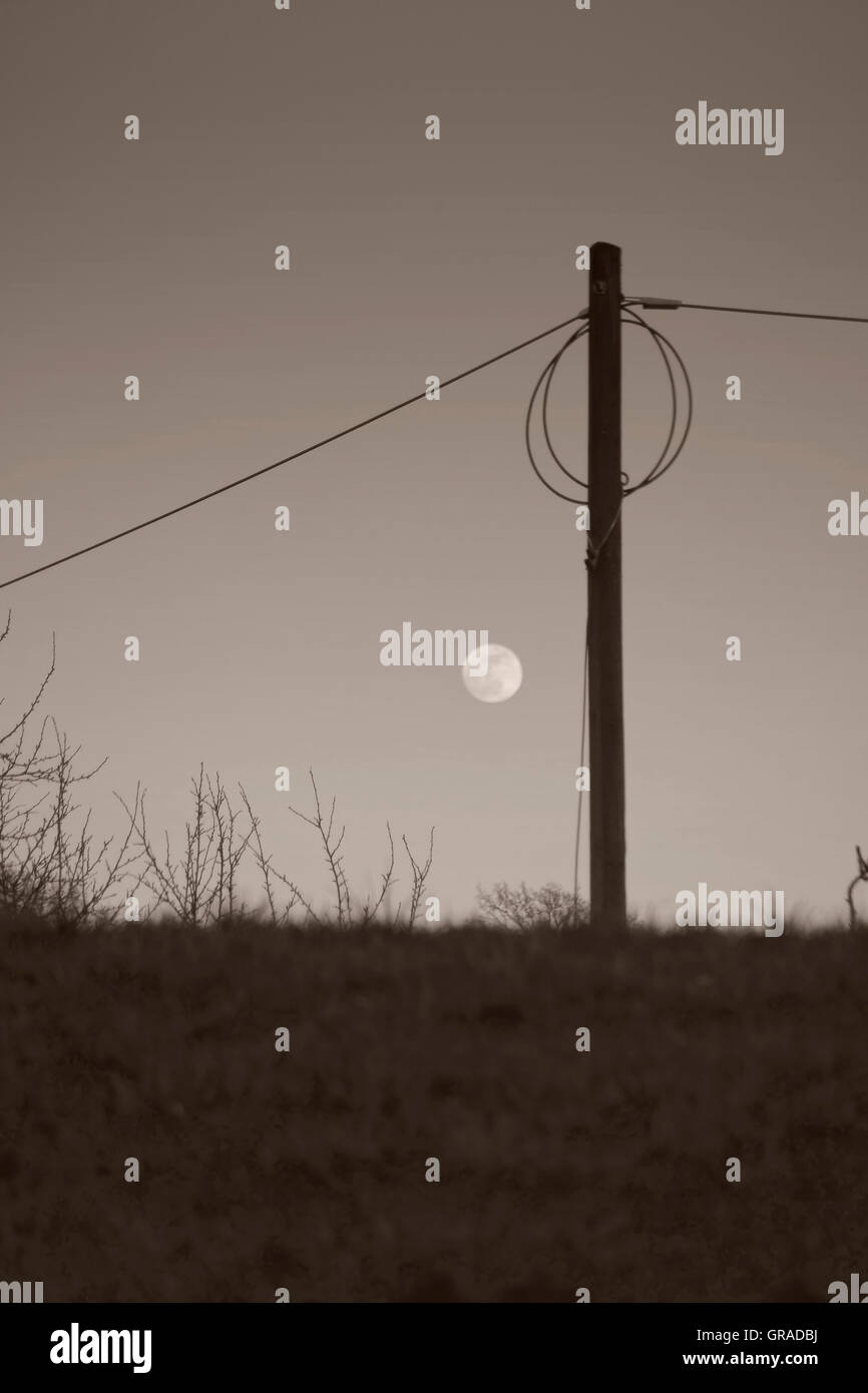Moon Over The Dike - Stock Image