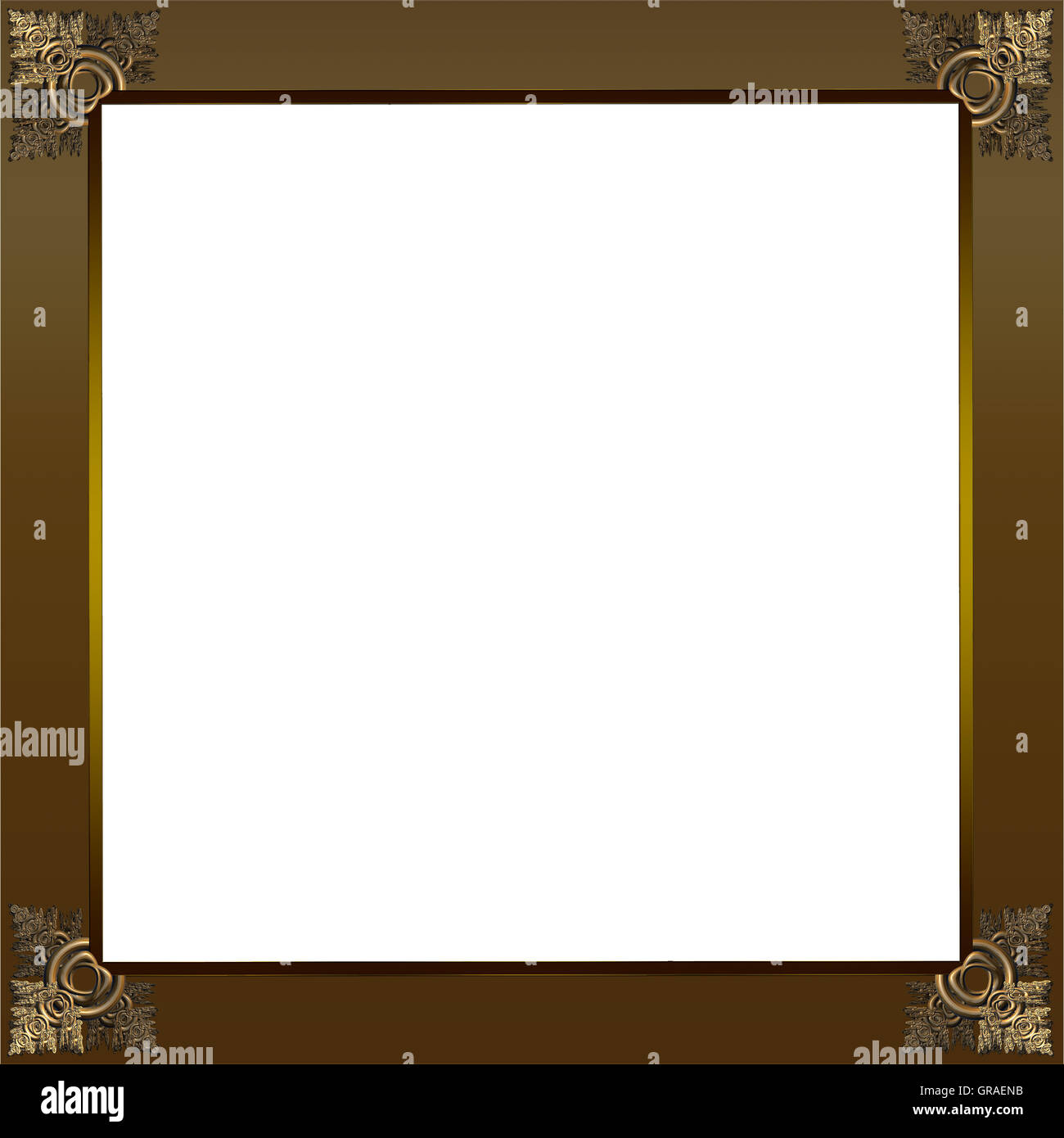 Exquisite picture frame or border with gold patterned corners and ...