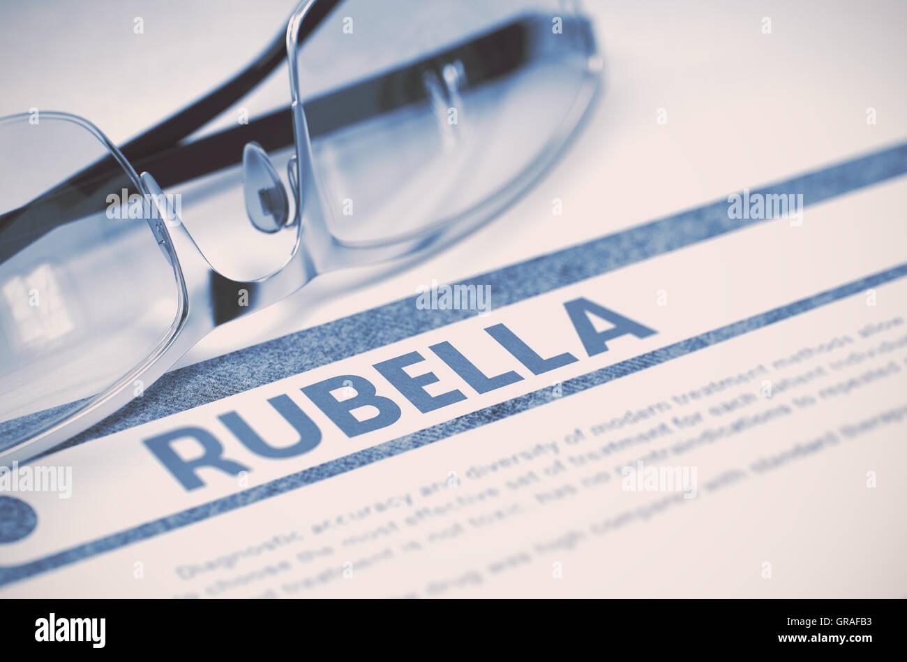 Diagnosis - Rubella. Medicine Concept. 3D Illustration. - Stock Image