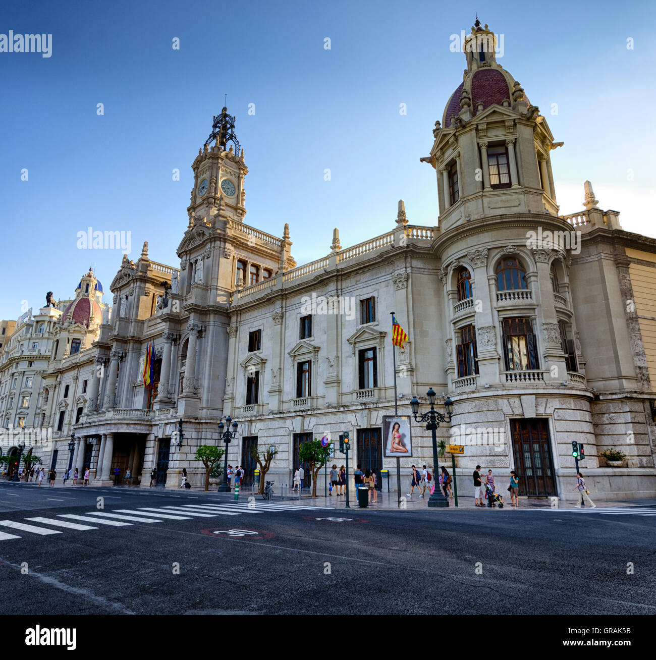 Lateral view on the building of town hall in city center Valencia, Spain - Stock Image