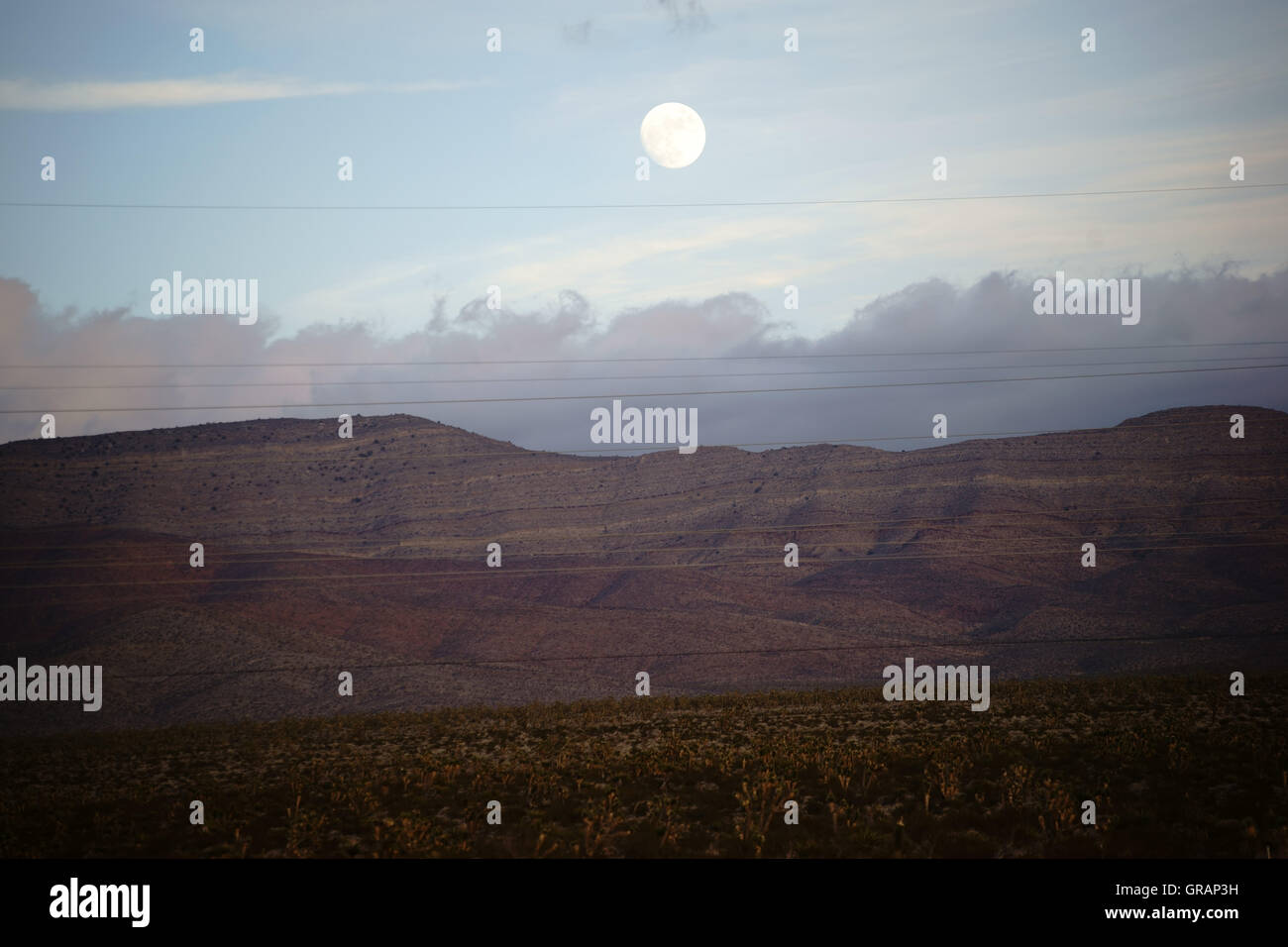Full Moon Over The Mountains - Stock Image