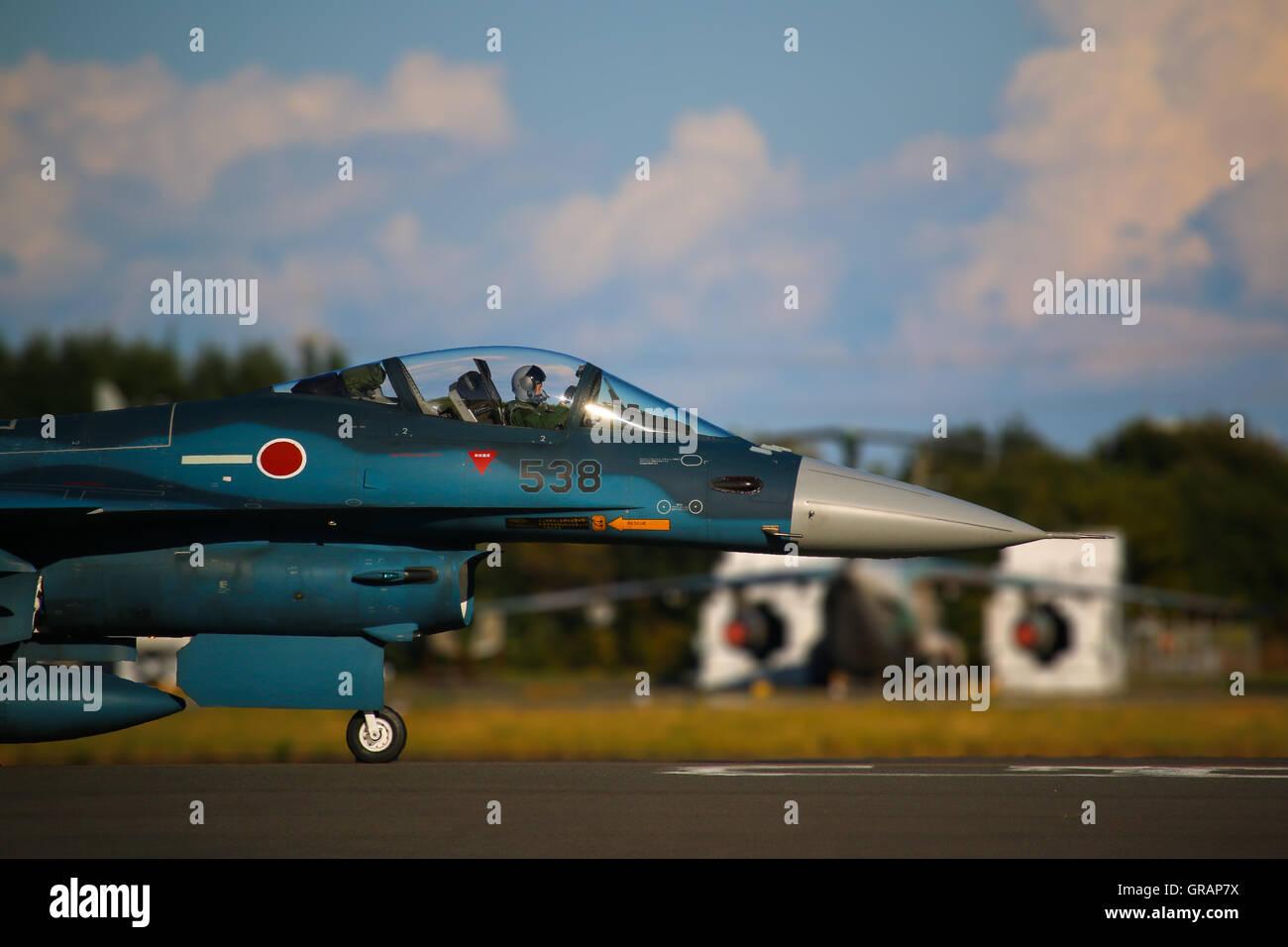 Military Airplane On Runway - Stock Image